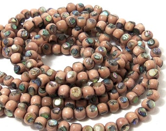 Rosewood with Abalone Shell Inlay, 6mm, Round, Natural Wood and Shell, Artisan Handmade Bead, 8 Inch Strand - ID 1792
