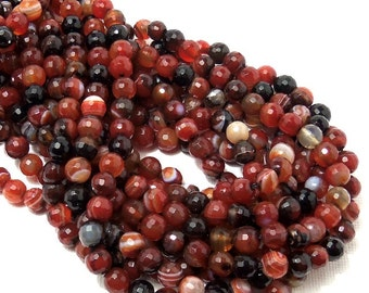 Agate, Red-Orange/Black/White, 6mm, Round, Faceted, Banded, Small, Gemstone Beads, Full Strand, 64pcs - ID 1827