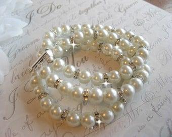 Bridal Pearl Bracelet, Brides Bracelet, Rhinestone Bracelet,Multi Strand Cuff Bracelet, Wedding Bracelet, Bridesmaids Bracelet