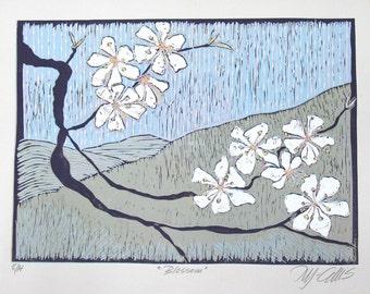 linocut, Blossom, petals, landscape, teal, sky blue, olive green, flowers, printmaking, home interior, pastel , branch