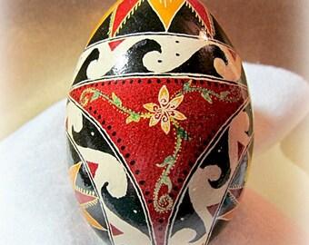 Egg, Pysanka, Ukrainian Easter egg, batik decorated Goose Egg, Sun and Waves Ukrainian Egg
