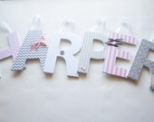 Wooden Nursery Letters- Custom Hanging Wall Letters- Classic Pink and Gray Theme- baby shower, baby nursery, children's room