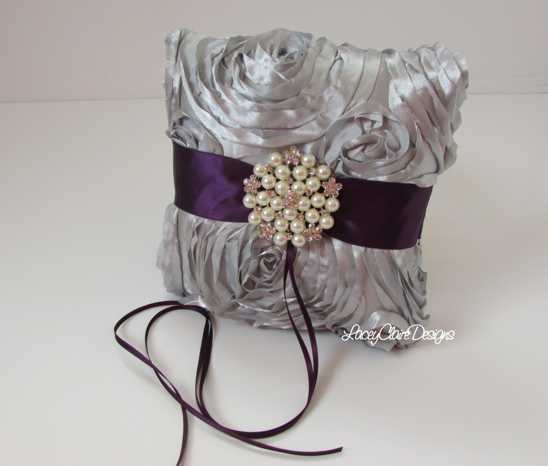 wedding ring bearer pillow custom made silver and lapis