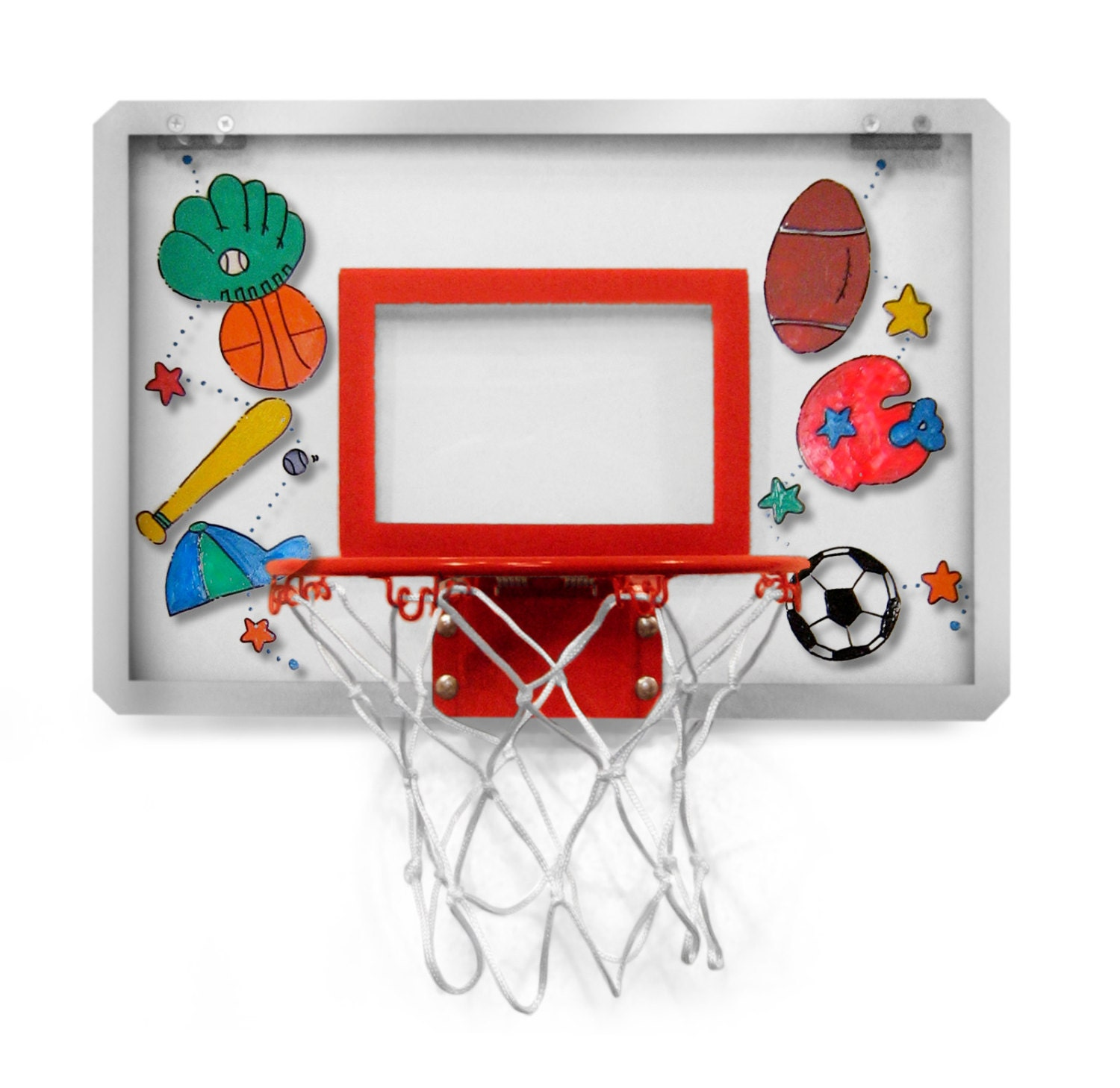 Personalized Over The Door Basketball Hoop With Ball New