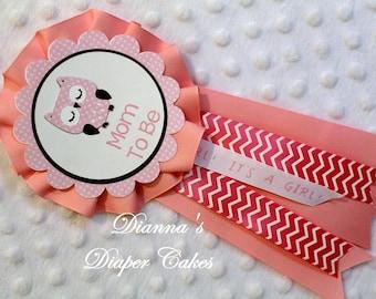 Baby Shower Mum Mom to Be Pink Owl Polka Dots Chevron