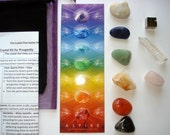 Prosperity Chakra Crystal Kit/book, stone set, 9 stones, Prosperity Intention Guide, Chakra stone, energy healing,Chakra bookmark