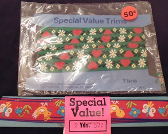 Vintage trim, 4 yards  total, embroidered chicks, daisies, butterflies, strawberries, retro sewing   gift wrap scrapbooking crafts