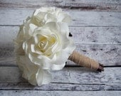 Silk Wedding Bouquet - Small White Rose Burlap Bouquet - Rustic Bridal Bouquet