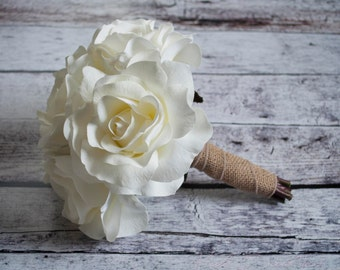 Silk Wedding Bouquet - Small White Rose Burlap Bouquet - Rustic Bridal Bouquet