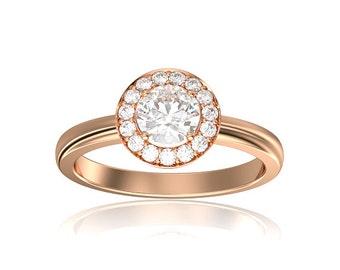 Luxurious 0.90 Carat Halo Diamond Engagement Ring in 18k Rose Gold