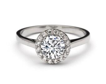 d7deba5312a164 Luxurious 0.90 Carat Halo Diamond Engagement Ring in 18k White Gold