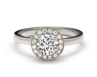 Luxurious 0.89 Carat Halo Diamond Engagement Ring in 18k White Gold