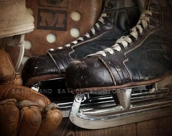 Vintage Hockey Skates, glove blocker and helmet closeup Photo Print, Boys Room decor, Boys Nursery Ideas, Sports art, Sport Prints, Man Cav