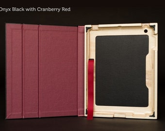 SECONDS - The Contega iPad Case for iPad 4/3/2 - Onyx Black with Cranberry Red Interior