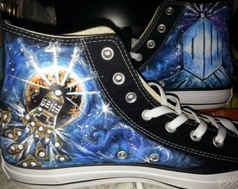 DOCTOR WHO hand painted shoes FOUR one of a kind paintings Bad Wolf Exploding Dalek Union Jack Tardis Galaxy Crack