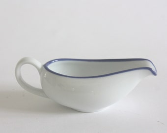 Vintage Blue and White Ceramic Gravy Boat