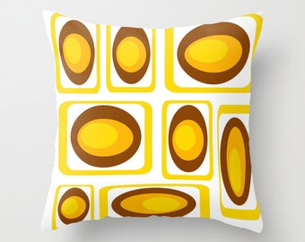 Modern Throw Pillow, Mid Century Modern Pillow, Cool Pillow,  Geometric Pillow, Yellow Pillow, Modern Pillow, White Pillow,  Retro Pillow