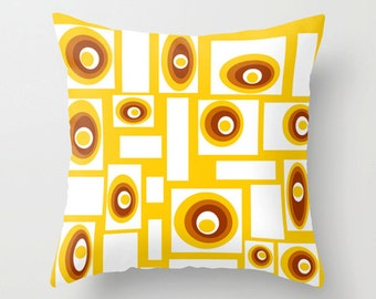 Yellow Pillow Cover, Geometric Pillow Cover, Modern Throw Pillow Cover, Mid Century Pillow Cover, Cool Pillow Cover, Decorative Pillow Cover
