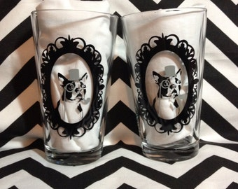 Boston Terrier pub glasses