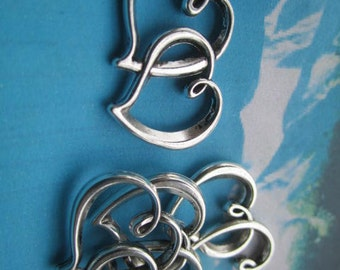 15pcs 32x20mm antiqued silver plated double-heart findings pendants
