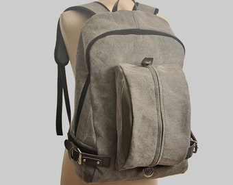 "Backpack, unisex,  for laptop up to 15"" in  italian grey canvas with leather details, named Michael.MADE TO ORDER"