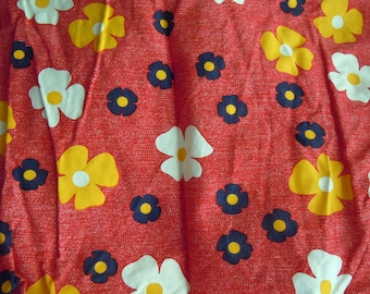 Vintage Blue, White, and Yellow Floral Fabric on Red Denim Print Background- Vintage Remnant