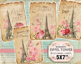 Paris Eiffel tower Roses Shabby chic french whimsical Scrapbook Decoupage 5x7 inch (427) set of 2 sheets