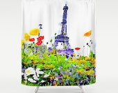 Spring in Paris Eiffel Tower Watercolor Print Shower Curtain. Colorful spring flowers with Eiffel Tower watercolor print. Pretty Paris