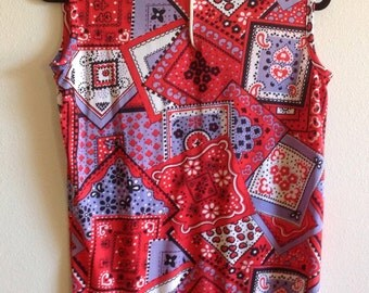 Red White Blue Sleeveless Cool Top