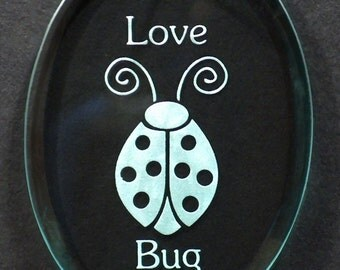 "Carved Glass ""Love Bug""  Ornament"