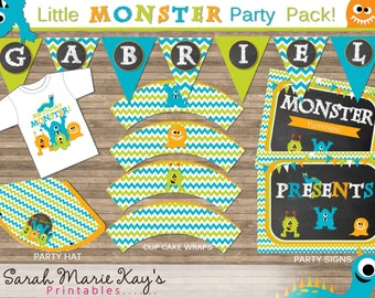 Chevron Little Monster Printable Party Package