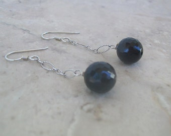 Faceted Black Swarovski Crystal and Sterling Silver Earrings