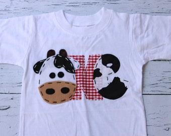 Barnyard birthday // Cow birthday shirt // one // cow // 1st,  t shirt, barnyard, farm theme, boy white