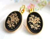 Vintage Black and Gold Drop Earrings - Oval Floral Glass Lever Back Gold Plated Drop Dangle Earrings - Wedding, Bridal, Bridesmaid