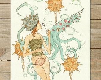 Mines / Seashell Girls Series / 1 of 3 | 11 x 14 Art Print | hipster fashion beach girl bath decor