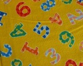 Yellow Number Print Flannel Fabric 1+ Yards