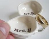 BRIDAL SHOWER GIFT pair of custom ring dishes wedding gift idea gift for bride gift for groom engagement gift white ceramic ring holder