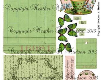 Victorian Vintage Shabby Chic Pink & Green St. Patrick's Day Irish Blend with Friend Tags  Digital Collage sheet Printable