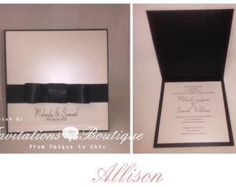 WEDDING INVITATION {Allison} Square Invitation (Elegant satin bow)