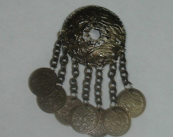 Vintage Silver Plated Middle Eastern Style Pin Brooch with Faux Arabian Coin Dangles