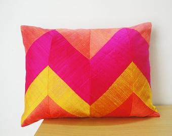 Pink & Yellow Chevron Lumbar Pillow in Dupioni Silk , Decor Pillow , Throw Pillow