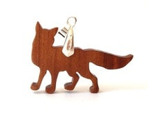 Wooden Fox Pendant Necklace Woodland Animal Jewelry Cherry Scroll Saw Hand Cut