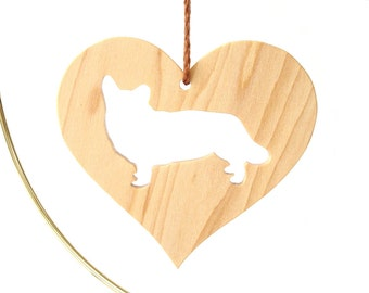 Maple Wooden Welsh Corgi Dog Silhouette Wood Heart Ornament Christmas Tree Decoration