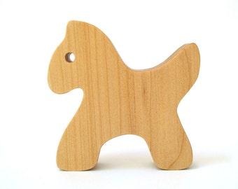 Simple Wooden Horse Pony Zebra Waldorf Wood Toy Wild Zoo Farm Animals Maple