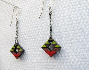Tribal Earrings, Small, Steens Mountain 1 on Cherry Wood