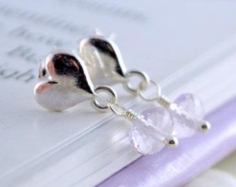 Lavender Earrings, Pink Amethyst, Child, Sterling Silver, Girls Gemstone Jewelry, Heart Ear Posts