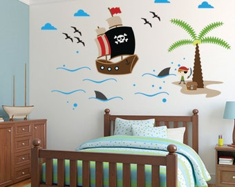Pirate wall decal etsy - Stickers muraux repositionnables ...