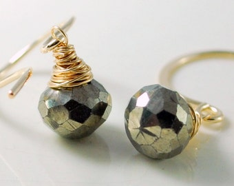 Iron Pyrite Earrings, Simple, Semiprecious, Burnished Gold, AAA Gemstone, Gold or Sterling Silver, Wire Wrapped Jewelry, Free Shipping