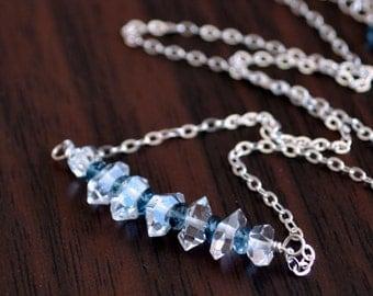 Necklace, Herkimer Diamond Quartz, London Blue Topaz Gemstone, Semiprecious Stone, Wire Wrapped, Sterling Silver Jewelry, Free Shipping