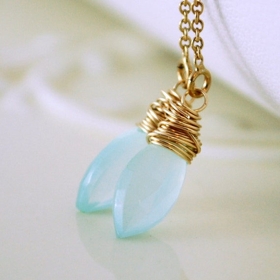 Aqua Chalcedony Earrings Threaders Pale Blue Pastel Gemstone Delicate Gold Filled Jewelry Free Shipping
